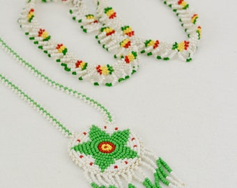 3pc Vintage 70s Native American Beaded Medallion Tourist Trade Necklace with Ankle Bracelet Pair