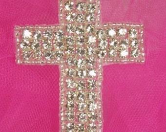 "0355  Crystal Rhinestone Silver Beaded Cross Beaded Applique Patch 2.75"" (0355-slcr)"