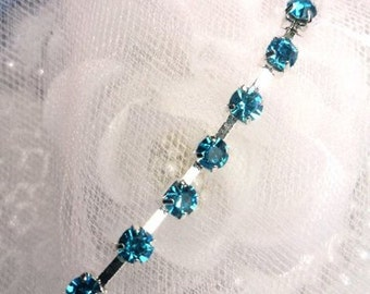 "JB148 Turquoise Elegant Glass Rhinestone Chain Sewing Trim 1/8"" (JB148-trsl)"