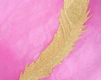 """GB176 Gold Metallic Leaf Embroidered Applique Iron On Patch 9""""  (GB176-gl)"""