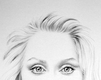 Meryl Streep Minimalism Original Pencil Drawing Fine Art Portrait