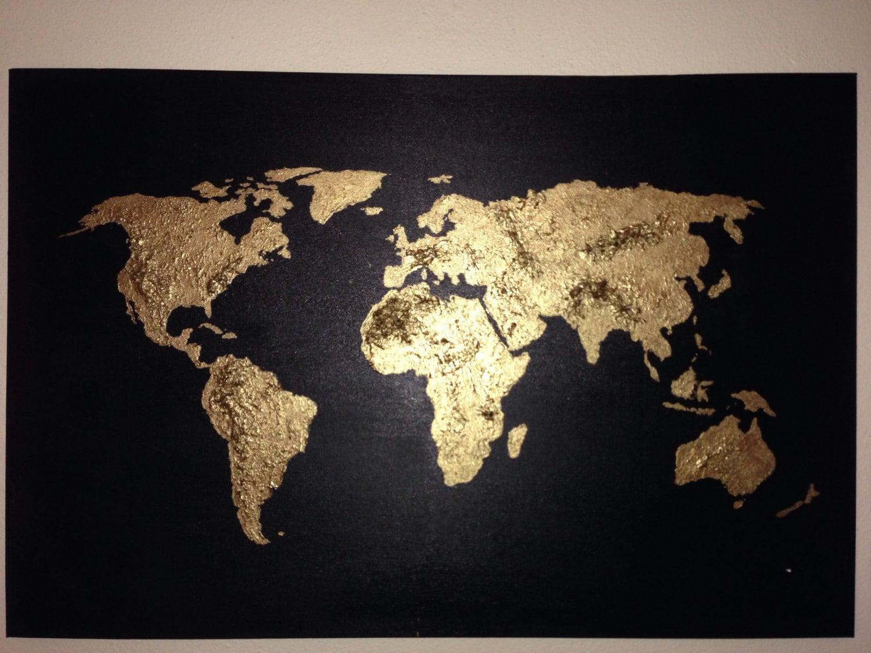 Original world map painting acrylic world map map art globe