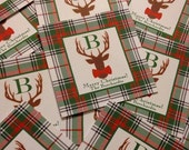 Christmas plaid bow tie deer tags