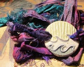 WRAP BRACELET ceramic WAVES water design in shades of Blue and recycled sari silk wrap ribbon in Purple and Deep Green