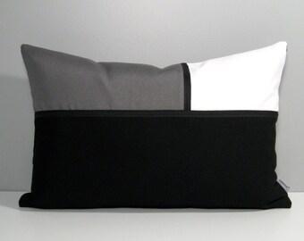 Black White Pillow Cover, Modern Grey Outdoor Pillow Case, Decorative Throw Pillow Cover, Color Block Pillow Case Sunbrella Cushion Cover
