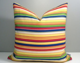 Sale - Colorful Outdoor Pillow Cover, Modern Pillow Cover, Decorative Pillow Cover, Blue Orange Yellow Green Striped Sunbrella Cushion Cover