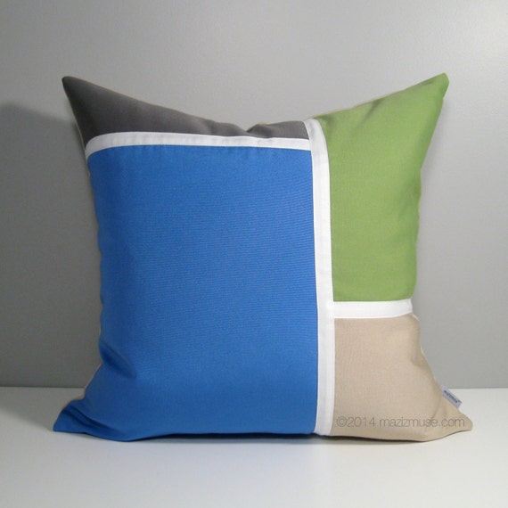 Items similar to Color Block Pillow Cover, Blue Grey Beige & Lime Green, Modern Outdoor ...