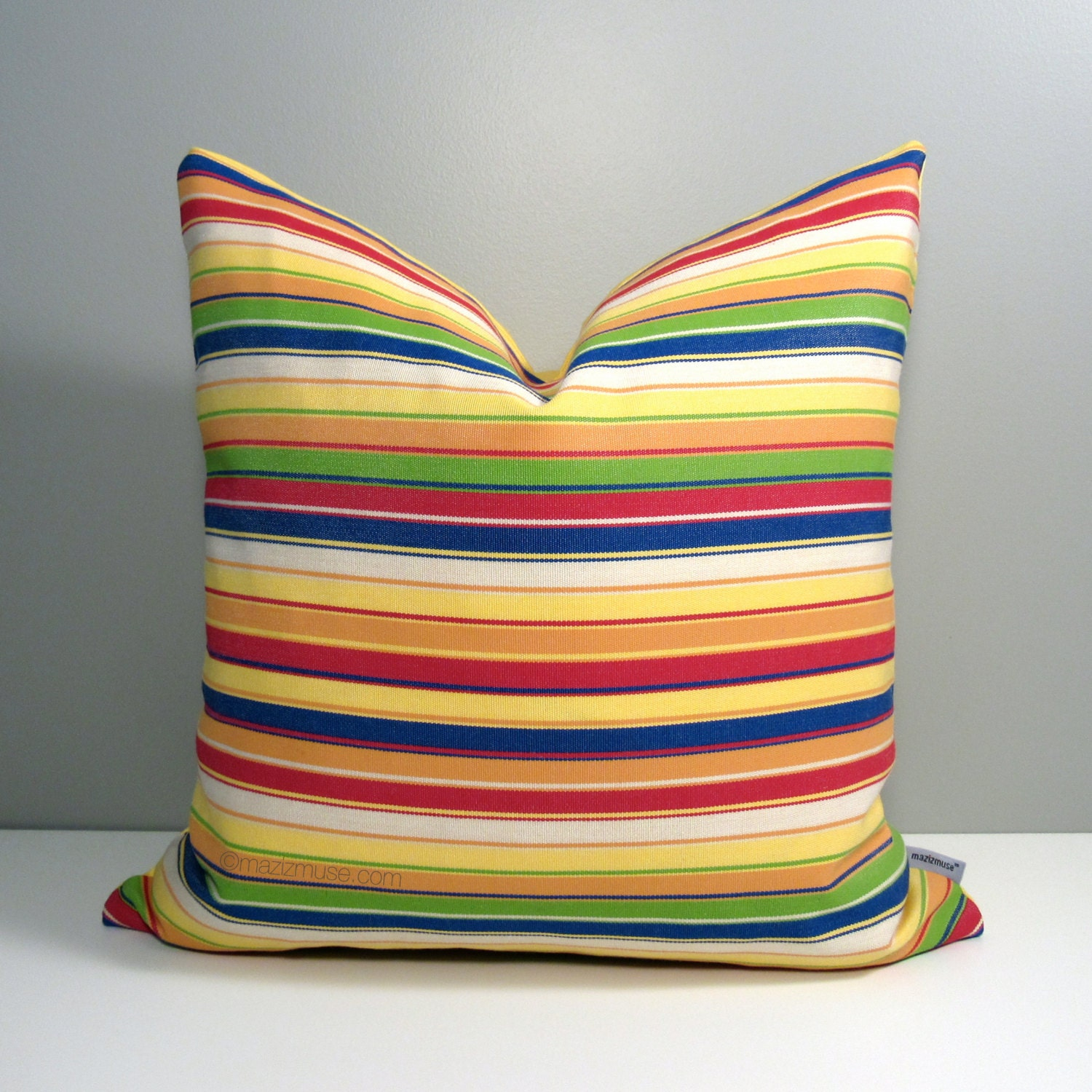 Colorful Outdoor Pillow Cover Modern Striped Throw Pillow