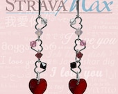 Crystal Passion Red Earrings - romantic love valentines jewelry gift - unique heart chain - 10mm heart crystal - sterling silver leverbacks