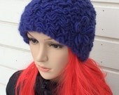 Knitted hat, handmade, winter beanie, woman knit hat,  gift, blue with blue flower, rose, ski hat, elegant  accessory