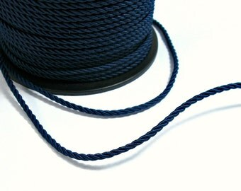 Twisted silk cord, 3mm, blue satin cord, 4 meters