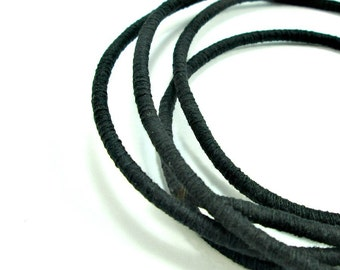 Wrapped cotton cord, cotton rope, black, 1 meter
