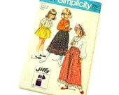 Vintage 1970s Girls Size 7 Peasant Gypsy Style Skirt and Blouse Simplicity Sewing Pattern 9091 Factory Folds/ b26 w23