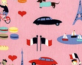 French Lessons Fabric by Dear Stella Paris Eiffel Tower Arch De Triomphe French Flags on Pink