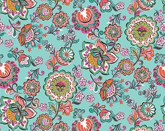 Riding Hood Fabric by Blend Fabrics Babushka Tossed Multicolored Floral Flowers on Light Blue