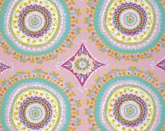 Haute Girls Fabric by Dena Designs Large Ornate Intricate Pattrened Tile Circles PINK