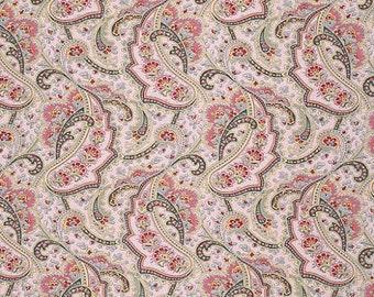 Rustic Blush Fabric by Verna Mosquera Jacobean Paisley Purple Pink Black in Chiffon Purple