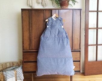 herringbone chambray baby and toddler sleepsack, The Baby Snap Sack®, baby sleeper, down sleeping bag, size adjusts as baby grows