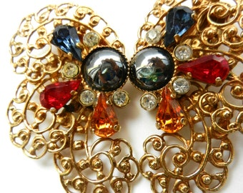 Large gold filigree and pear shaped crystal earrings 1960 Italian - stunning line of great charm -- Art.695/3 --