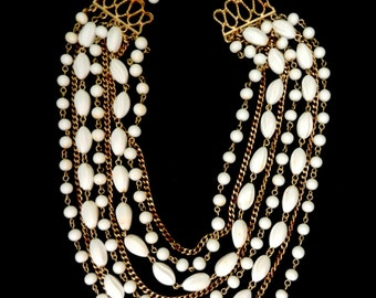 Older CORO  8 Strand Milk White Lucite & Gilt Gold chain Necklace -1940 vintage multi strand necklace by CORO very beautiful  - art.729/3 -