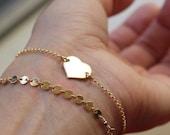 Heart Gold Bracelet - Celebrity Style - 14K Goldfilled