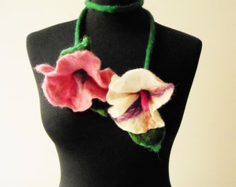 SALE felt flowers pink and white summer necklace lariat, eco friendly