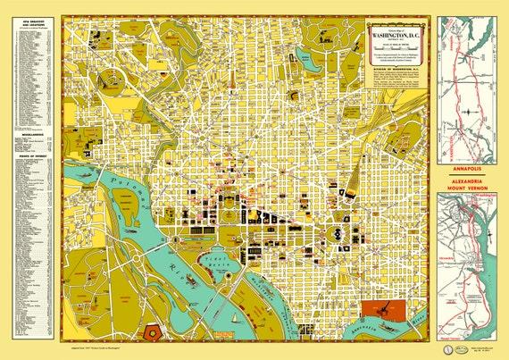 Washington dc Map Poster Washington dc 1947 Map Poster