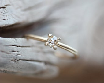 Delicate Rose-Cut Diamond Engagement Ring 14k Yellow Gold Tiny 4 Prong Crown Thin Boho Bridal Band Sparkly White Gemstone - Petite Couronne