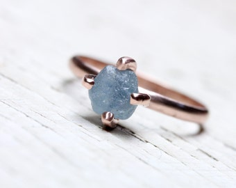Blue Rough Montana Sapphire Engagement Ring 14K Rose Gold 4 Prong Setting Delicate Minimalistic Raw Gemstone Her Bridal Band - Steel Tulip