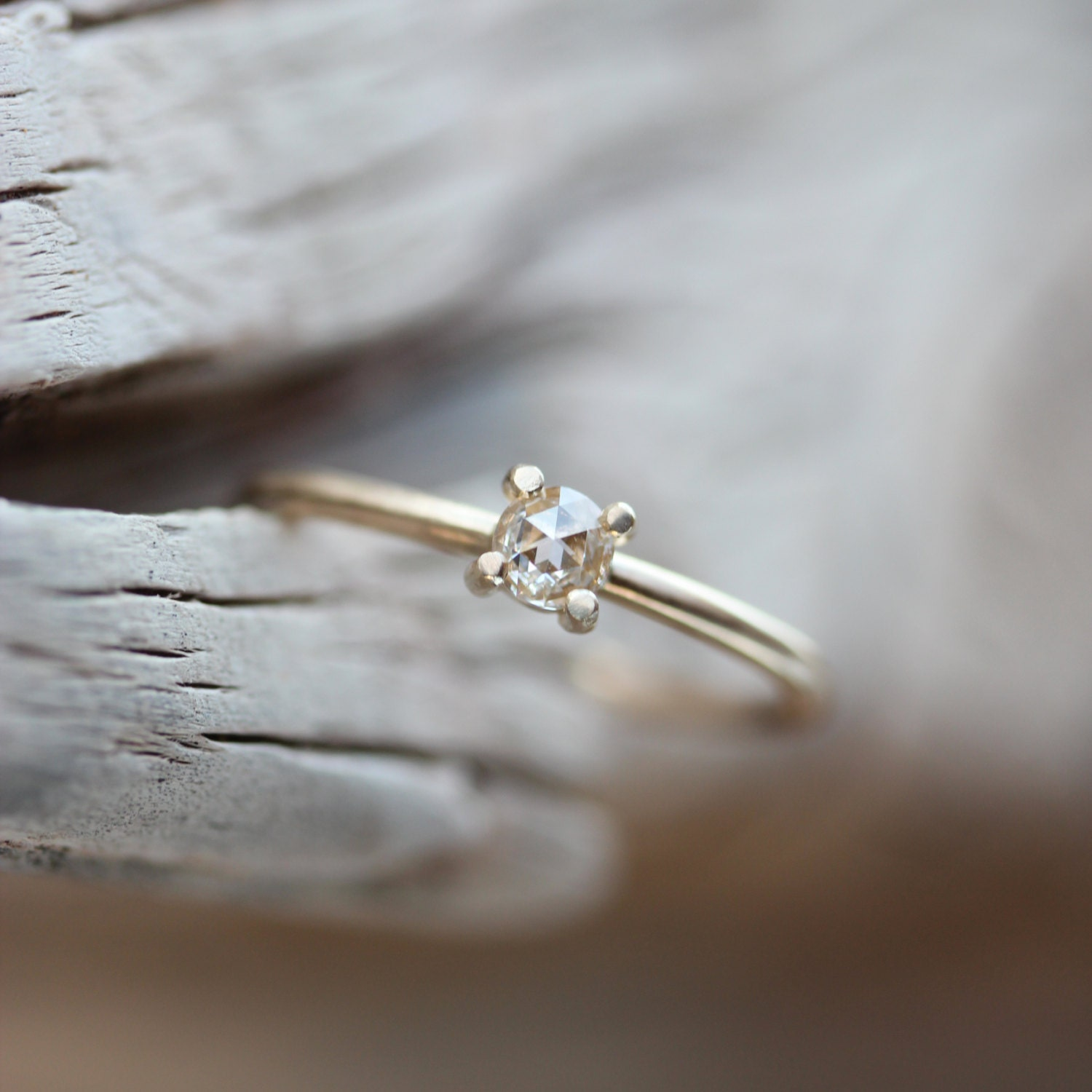 Delicate Rose Cut Diamond Engagement Ring 14k Yellow Gold Tiny