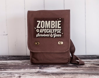 Zombie Apocalypse - Field Bag - School Bag - Java Brown - Canvas Bag