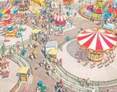 "Large Wall Art, Carnival Art, Large Framed Art, Nursery Decor, Coney Island Carousels, Carousel Print - ""Coney Island Carnivale III"""