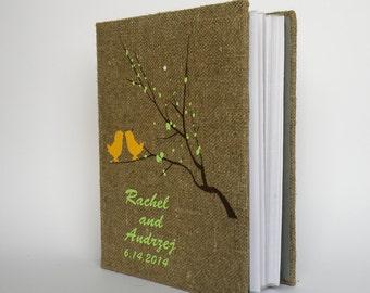 SALE ~ 15%Wedding rustic  photo album burlap Linen Bridal shower anniversary Yellow birds and blossoms on brunch