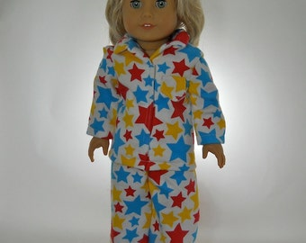 18 inch doll clothes, doll pajamas, Blue Red Yellow Star Pajamas, 05-0209