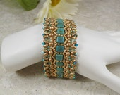 Woven Bracelet in Turquoise Czechmates with Swarovski Crystals