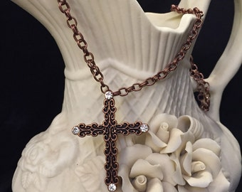 Copper Bling Cross Necklace