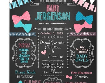 "PRINTED Ready to Frame, Personalized Baby Shower Poster, 11"" x 14"", 16"" x 20"", 18"" x 24"", Hair Bows, Bow Ties, Chalkboard Shower Sign"