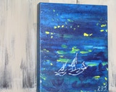 Acrylic Paintings to ORDER - Night Boats Small CAnvas Box Painting - Acrylic paints - no need for a frame - Children's Room Decor