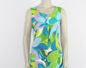 1960's Short Hawaiian Dress - Abstract Floral Novelty Print - Aqua Turquoise Lime Green Purple