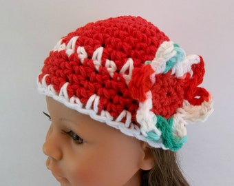 Crochet Christmas Hat for  18 inch Doll Red Hat White Flower Accessories Toys Christmas