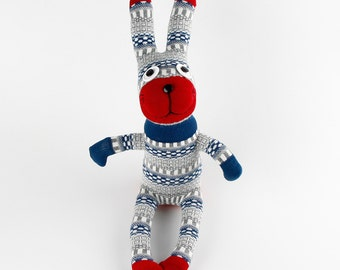 Free Shipping Handmade Red Face Checked Sock Rabbit Bunny Stuffed Animal Doll Baby Toys