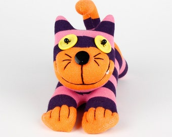 Free Shipping Handmade Sock Cheshire Cat Kitty Stuffed Animal Baby Toy