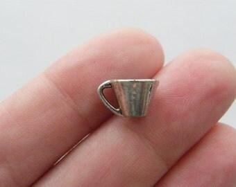 10 Mug charms tibetan silver FD63