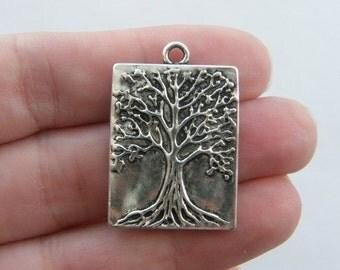 4 Tree pendants antique silver tone T47