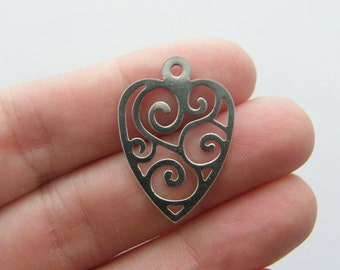 4 Heart charms stainless steel H12