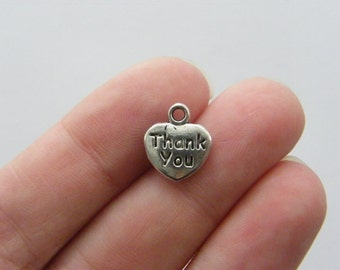12 Thank you heart charms tibetan silver H57