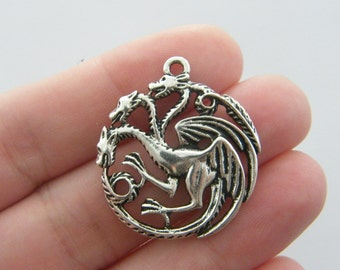 4 Three headed dragon charms antique silver tone A75