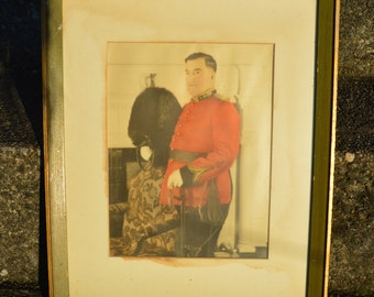 Antique Hand Tinted Framed Photograph of an English Officer with a Sword and a Bearskin Hat c.1920s