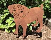 Puggle Garden Stake or Wall Hanging / Garden Art / Garden Decor / Yard Art / Pet Memorial / Lawn Ornament / Shadow / Spike / Metal / Cut Out