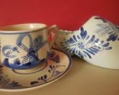 SALE-DELFT Tea Cup Saucer and Delft Shoe